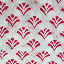 Load image into Gallery viewer, White & Cherry Red Cotton Jacquard Handblock Printed Fabric