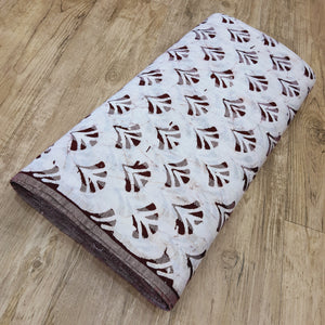 White & Brown Cotton Jacquard Handblock Printed Fabric