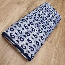 Load image into Gallery viewer, Cream & Navy Blue Cotton Jacquard Handblock Printed Fabric