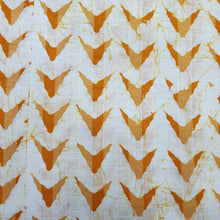 Load image into Gallery viewer, Cream & Turmeric Yellow Cotton Jacquard Handblock Printed Fabric