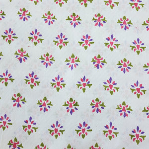 White & Pink, Blue, Green Floral Cotton Jacquard Handblock Printed Fabric