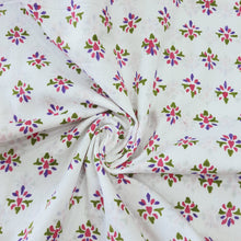 Load image into Gallery viewer, White & Pink, Blue, Green Floral Cotton Jacquard Handblock Printed Fabric