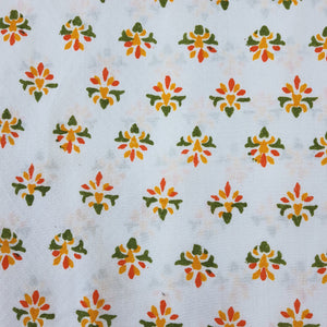 White & Orange, Green ,Yellow Floral Cotton Jacquard Handblock Printed Fabric