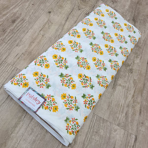 White & Multi Colour Cotton Jacquard Handblock Printed Fabric