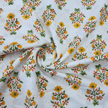 Load image into Gallery viewer, White & Multi Colour Cotton Jacquard Handblock Printed Fabric