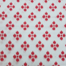 Load image into Gallery viewer, White & Red Cotton Jacquard Handblock Printed Fabric