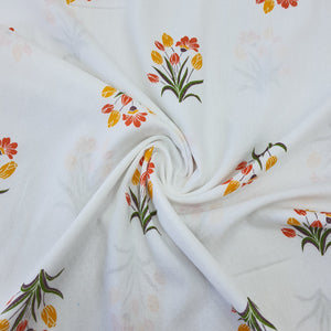 White & Multi Colour Floral Cotton Jacquard Handblock Printed Fabric