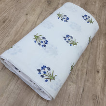 Load image into Gallery viewer, White & Multi Colour Floral Cotton Jacquard Handblock Printed Fabric