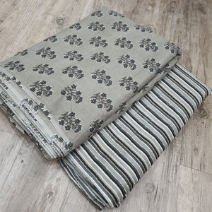 Grey Cotton Hand Block Printed Top & Bottom-2.5 mtr each