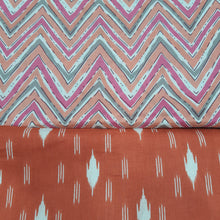 Load image into Gallery viewer, Orange & Multi Color Cotton Hand Block Printed Top & Bottom-2.5 mtr each