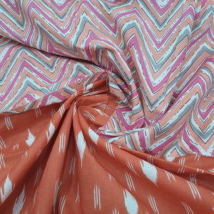 Orange & Multi Color Cotton Hand Block Printed Top & Bottom-2.5 mtr each