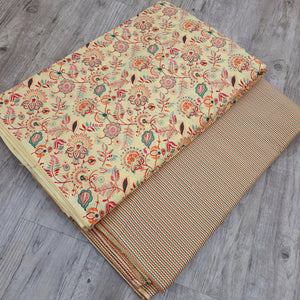 Light Yellow & Multi Color Cotton Hand Block Printed Top & Bottom-2.5 mtr each