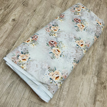 Load image into Gallery viewer, Beige Floral Micro Velvet Digital Printed Fabric