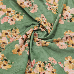 Mehandi Green Micro Velvet Digital Printed Fabric