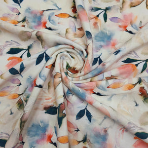 Cream & Multi Color Micro Velvet Digital Printed Fabric