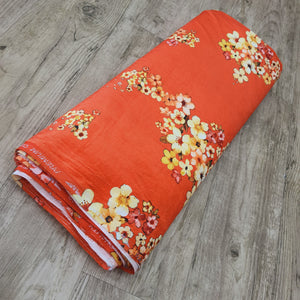 Orange Green Micro Velvet Digital Printed Fabric