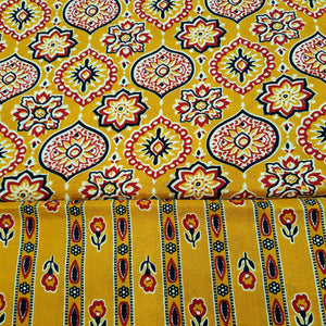 Mustard Yellow Cotton Hand Block Printed Top & Bottom-2.5 mtr each