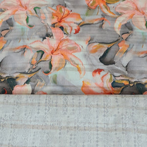 Beige Viscose Tussar Digital Printed Top & Bottom-2.5 mtr each