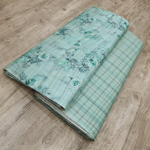 Light Sea Green Viscose Tussar Digital Printed Top & Bottom-2.5 mtr each