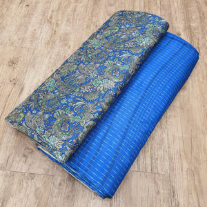 Royal Blue Viscos Tussar Digital Printed Top & Bottom-2.5 mtr each