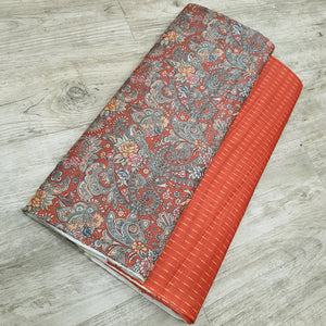 Rust Viscos Tussar Digital Printed Top & Bottom-2.5 mtr each