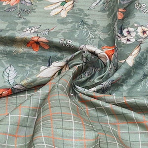 Khaki Green Viscos Tussar Digital Printed Top & Bottom-2.5 mtr each