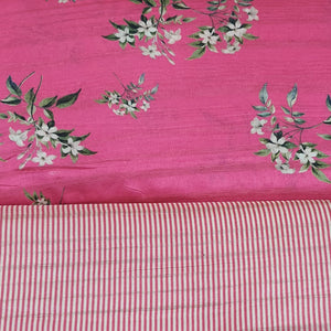 Dark Pink Tussar Digital Printed Top & Bottom-2.5 mtr each
