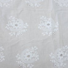 Load image into Gallery viewer, White Floral Motif Cotton Chikan Embroidered Fabric