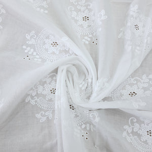 White Floral Motif Cotton Chikan Embroidered Fabric