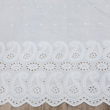 Load image into Gallery viewer, White Ambiya Motif Cotton Chikan Embroidered Fabric