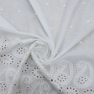 White Ambiya Motif Cotton Chikan Embroidered Fabric