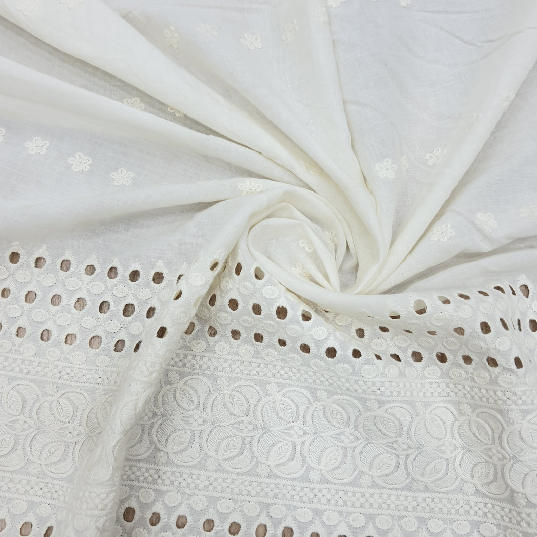 Off White Floral Motif Cotton Chikan Embroidered Fabric