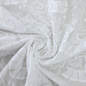 White Embroidery on 2x2 Rubia Cotton Fabric
