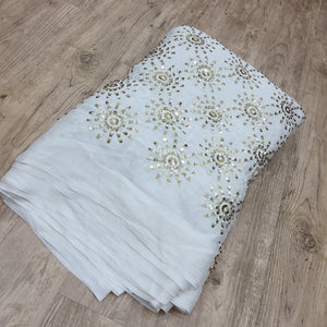 White Dyeable Chinon Chiffon Embroidered
