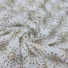 Load image into Gallery viewer, White Dyeable Chinon Chiffon Embroidered