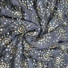 Load image into Gallery viewer, Black Chinon Chiffon Embroidered