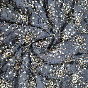 Black Chinon Chiffon Embroidered