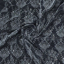 Load image into Gallery viewer, Black Micro Velvet  Thread Embroidery eith water sequence  Fabric