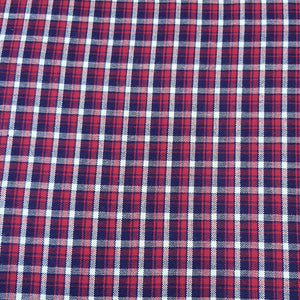 Red & Blue Check Pattern Woven Cotts Wool Fabric