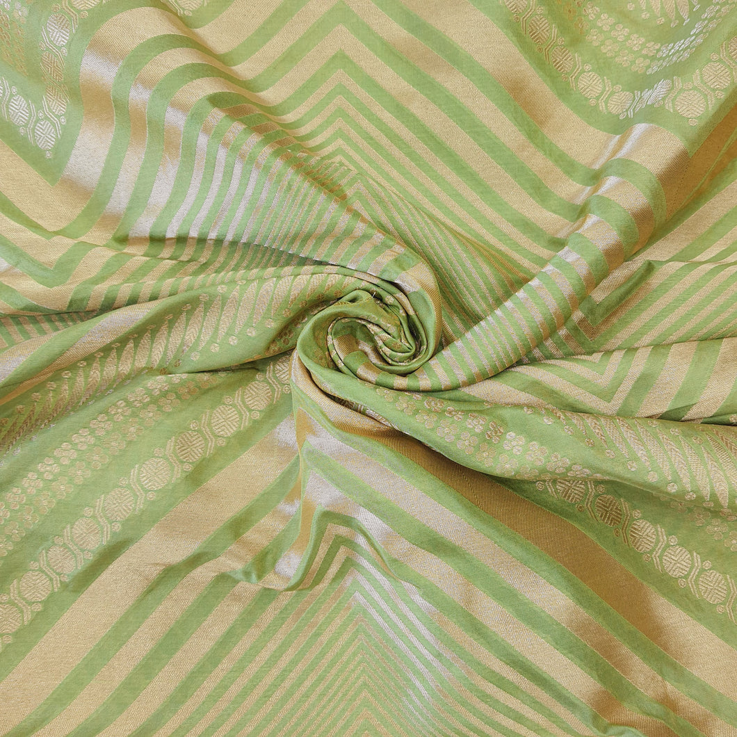 Light Mehandi Green Brocade Pure Banarsi silk Water Gold Zari Fabric