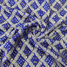 Load image into Gallery viewer, Royal Blue Pure Bandhani Khaddi Georgette Fabric.