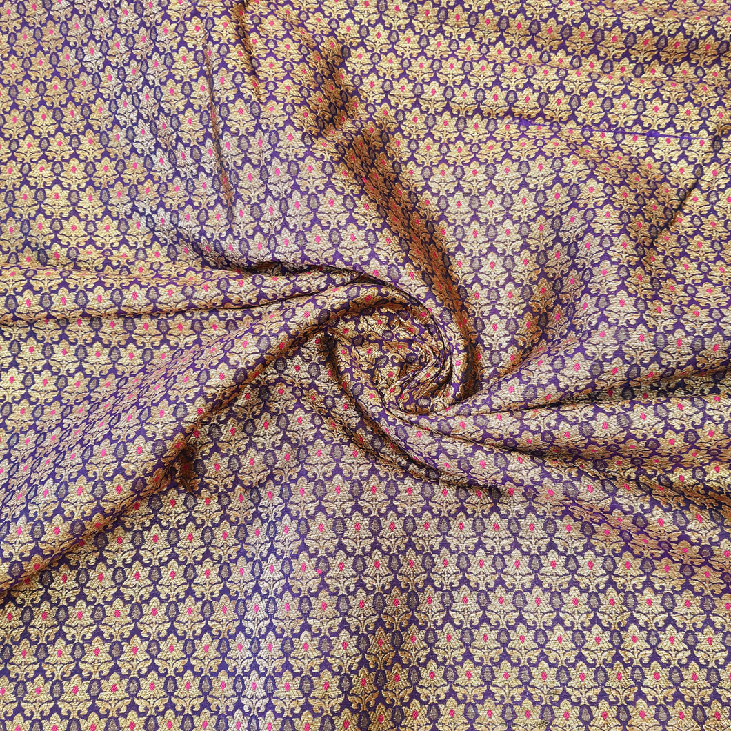 Dark Brinjal Base Brocade Pure Banarsi silk  Gold Zari Fabric
