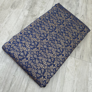 Navy Blue Base Brocade Pure Banarsi silk  Gold Zari Fabric