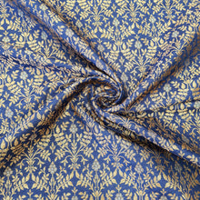 Load image into Gallery viewer, Navy Blue Base Brocade Pure Banarsi silk  Gold Zari Fabric