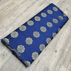 Royal Blue Semi Brocade Banarsi silk Gold Zari Fabric