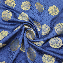 Load image into Gallery viewer, Royal Blue Semi Brocade Banarsi silk Gold Zari Fabric