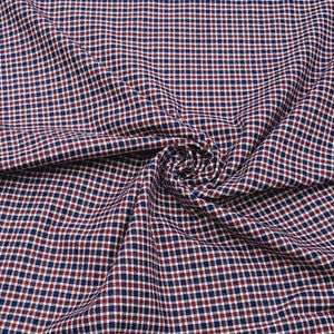 Red & Navy Blue Check Pattern Woven Cotts Wool Fabric