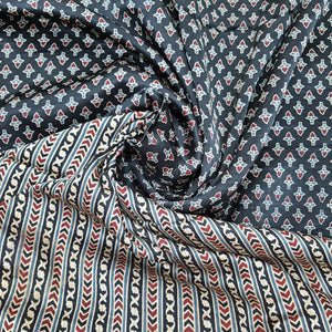 Black Mashru Ajrak Block Print Vegetable Dye Block Printed Fabric