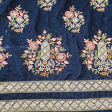Load image into Gallery viewer, Navy Blue Micro Velvet sequence Embroidered Fabric