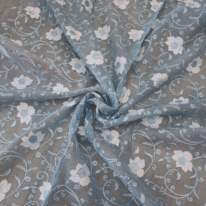 Light Grey Embroidered Kota Doriya Fabric